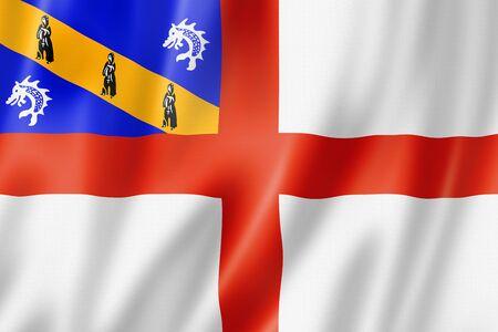 Herm island flag, United Kingdom waving banner collection. 3D illustration Stockfoto