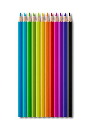Set of rainbow color wooden pencil collection isolated on white background