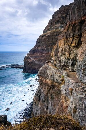 Cliffs and ocean view from coastal path in Santo Antao island, Cape Verde, Africa
