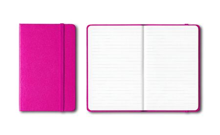 Pink closed and open lined notebooks mockup isolated on white Banque d'images