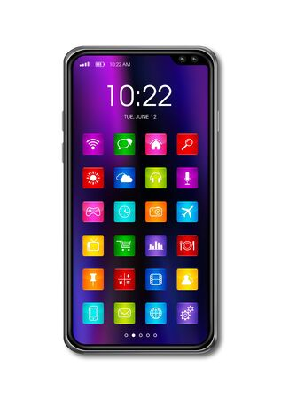 All screen digital realistic smartphone with colorful icon set isolated on white. 3D render Banque d'images