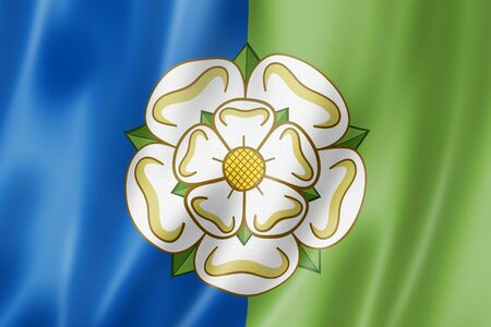 East Riding of Yorkshire County flag, United Kingdom waving banner collection. 3D illustration Banque d'images