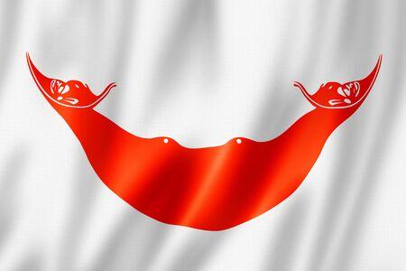 Rapanui, Easter Island flag, Chile. 3D illustration Banque d'images