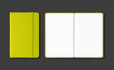 Lime green closed and open notebooks mockup isolated on black