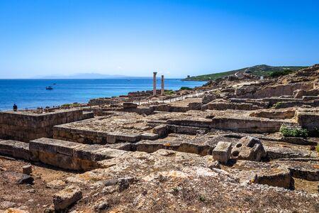 Columns in Tharros archaeological site, Oristano, Sardinia