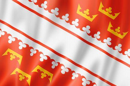 Alsace Region flag, France waving banner collection. 3D illustration Banque d'images