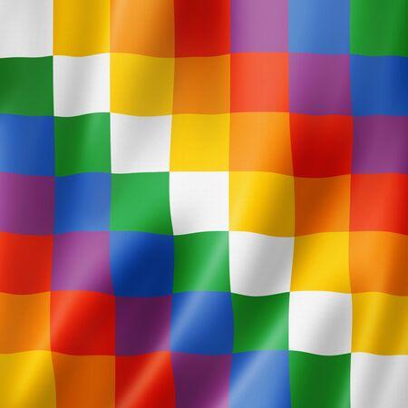 Wiphala ethnic flag, South America. 3D illustration