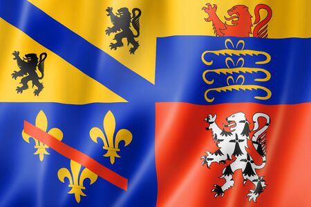 Ain County flag, France waving banner collection. 3D illustration