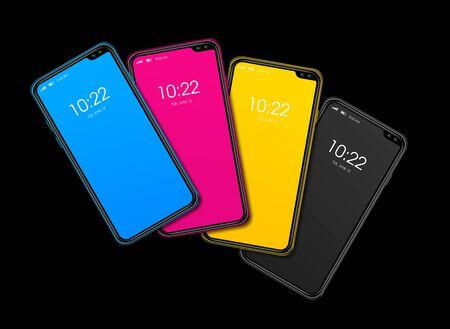 CMYK smartphone colorful set isolated on black Background. 3D render
