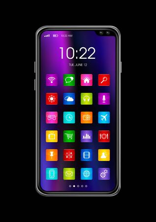 All screen digital realistic smartphone with colorful icon set isolated on black. 3D render