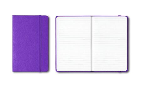 Purple closed and open lined notebooks mockup isolated on white Banque d'images