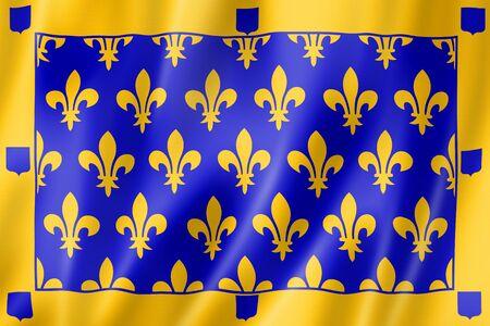 Ardeche County flag, France waving banner collection. 3D illustration Banque d'images