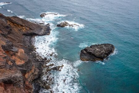 Cliffs and ocean aerial view from coastal path in Santo Antao island, Cape Verde, Africa