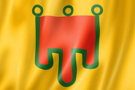 Auvergne Region flag, France waving banner collection. 3D illustration