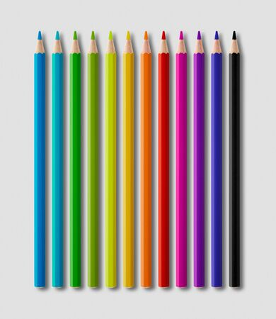 Set of color wooden pencil collection isolated on grey background Banque d'images