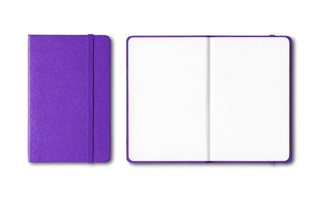 Purple closed and open notebooks mockup isolated on white Banque d'images