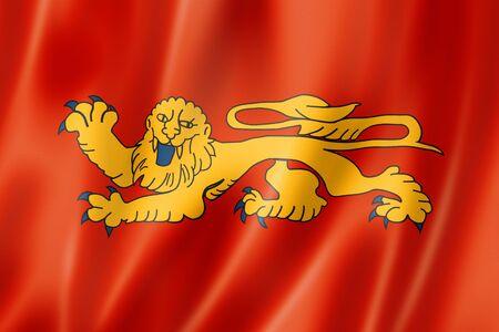 Aquitaine Region flag, France waving banner collection. 3D illustration