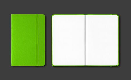 Green closed and open notebooks mockup isolated on black