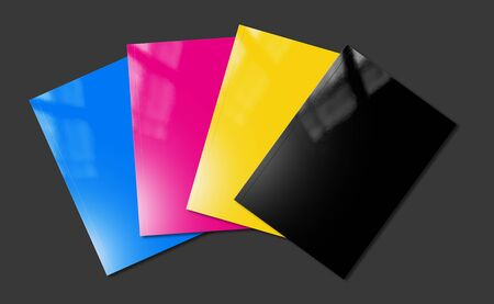 CMYK booklet covers set isolated on black background - mockup illustration Banque d'images