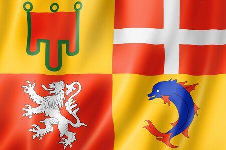 Auvergne-Rhone-Alpes Region flag, France waving banner collection. 3D illustration
