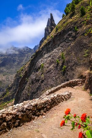 Aerial Hiking trail in Paul Valley, Santo Antao island, Cape Verde, Africa