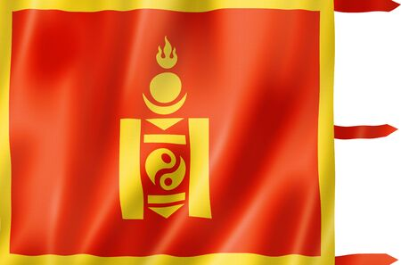 China Mongolians ethnic flag. 3D illustration