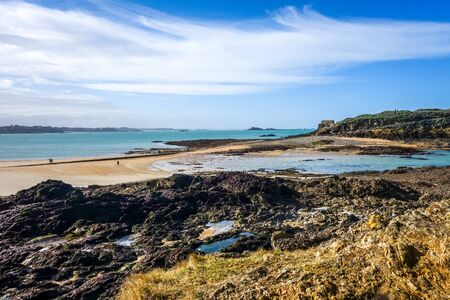 Saint-Malo beach and seascape in brittany, France