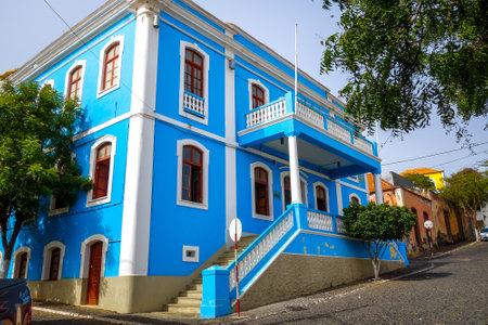 Sao Filipe/Cape Verde - August 7, 2018 - Blue house in Fogo Island