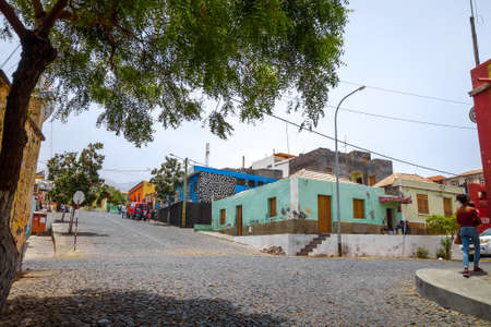 Sao Filipe/Cape Verde - August 7, 2018 - City Streets in summer, Fogo Island