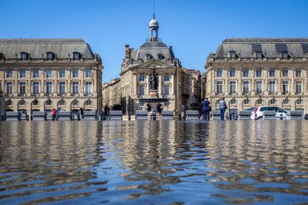 Bordeaux/France - April 17, 2018 : Water Mirror and Place de la Bourse