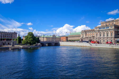 Stockholm/Sweden - July 29, 2017 - Gamla Stan cityscape and pier