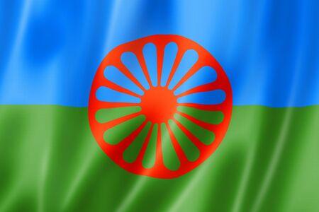 Romani people ethnic flag. 3D illustration