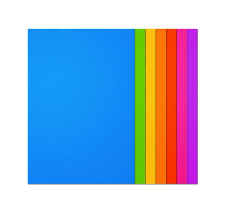Colorful rainbow Blank A4 paper sheet range isolated on white background