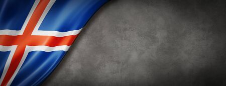 Iceland flag on concrete wall. Horizontal panoramic banner. 3D illustration