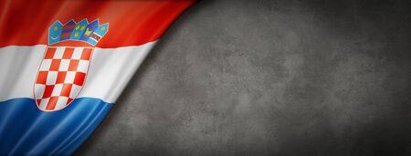 Croatia flag on concrete wall. Horizontal panoramic banner. 3D illustration