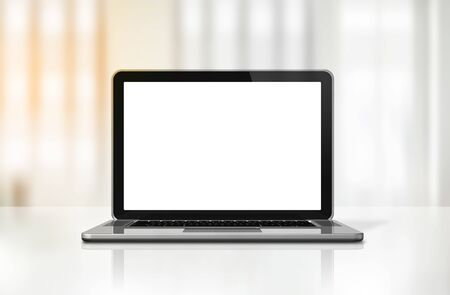 3D blank laptop computer isolated on office desk interior background