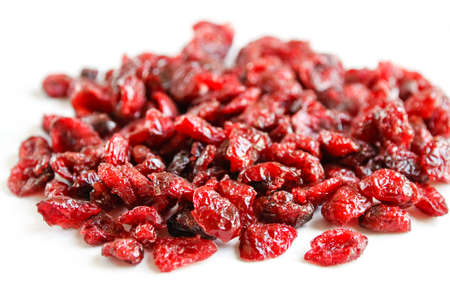 Cranberries isolated on white background. Close-up view