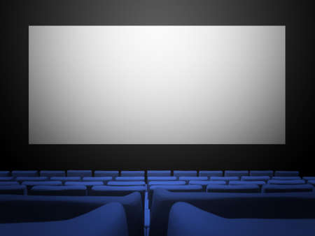 Cinema movie theatre with blue velvet seats and a blank white screen. Copy space background