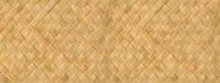 Woven light bamboo mat texture background banner