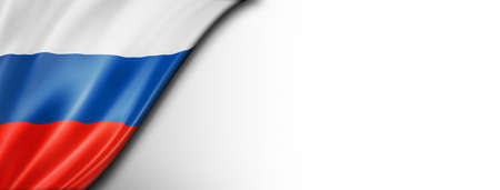 Russia flag isolated on white. Horizontal panoramic banner.