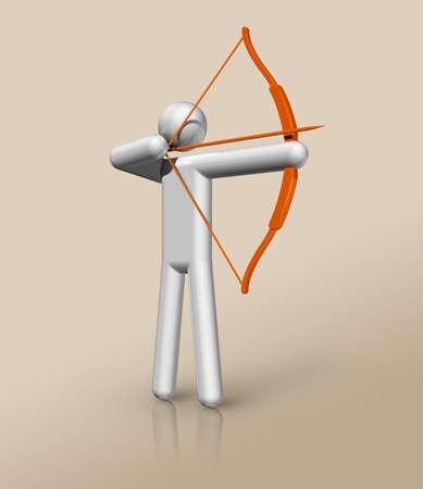 three dimensional archery symbol, sports. Illustration Standard-Bild - 155804177