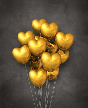 Gold heart shape air balloons group on a dark concrete background. 3D illustration render