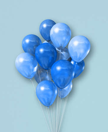 Cyan air balloons group isolated on a light blue background. 3D illustration render