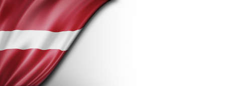Latvia flag isolated on white. Horizontal panoramic banner. Standard-Bild