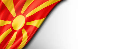 Macedonia flag isolated on white. Horizontal panoramic banner.