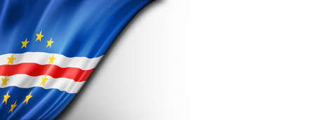 Cape Verde flag isolated on white. Horizontal panoramic banner.
