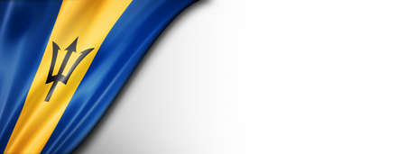 Barbados flag isolated on white. Horizontal panoramic banner.
