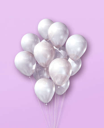 White air balloons group on a light pink background. 3D illustration render