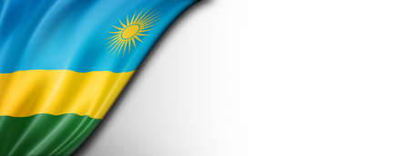 Rwanda flag isolated on white. Horizontal panoramic banner. Standard-Bild