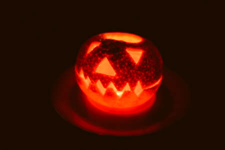 Orange halloween jack o lantern, closeup view Standard-Bild - 155630605